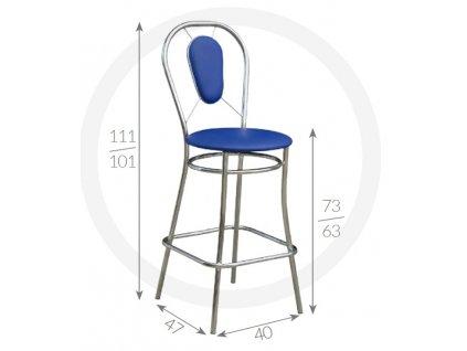 Barová židle Viki Metpol  111/101 x 73/63 x 47 x 40
