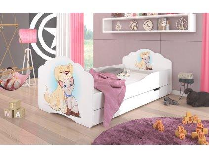 Dětská postel CASIMO PES A KOČKA s úložným prostorem Adrk 88/63/164