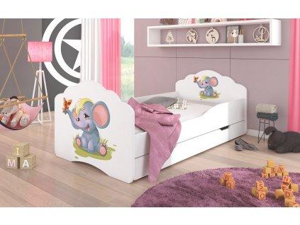 Dětská postel CASIMO SLŮNĚ s úložným prostorem Adrk 78/58/144