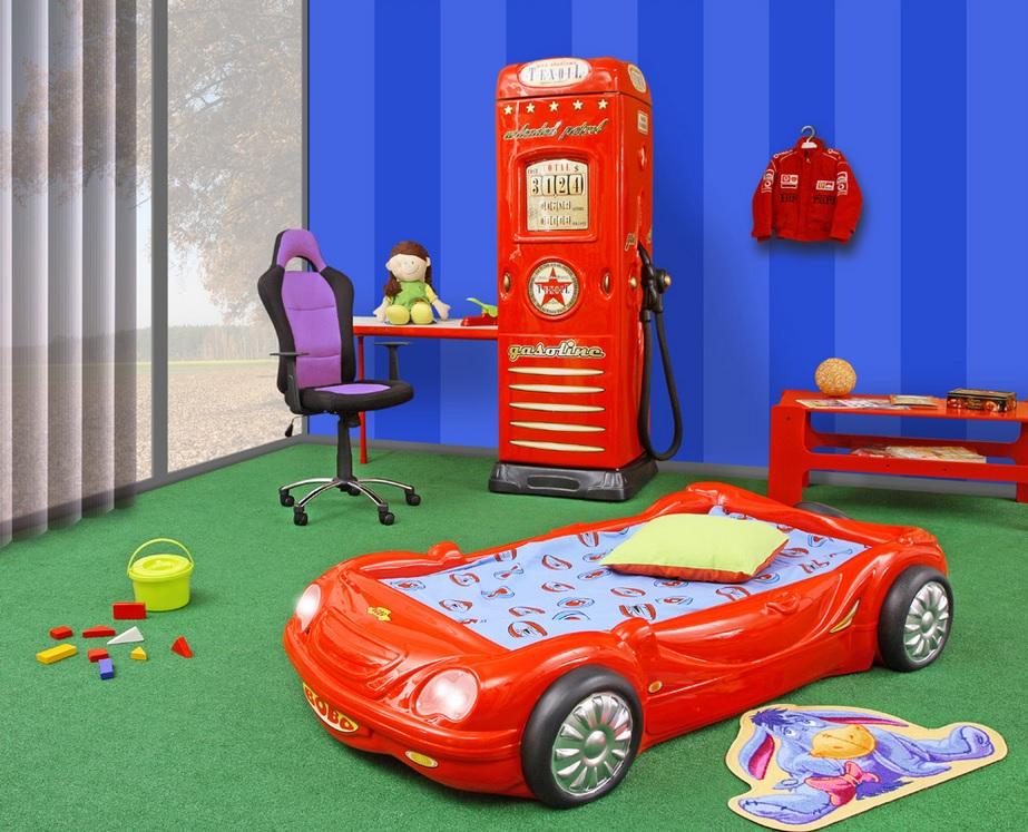 Plastiko dětská auto postel s matrací Barva: žlutá
