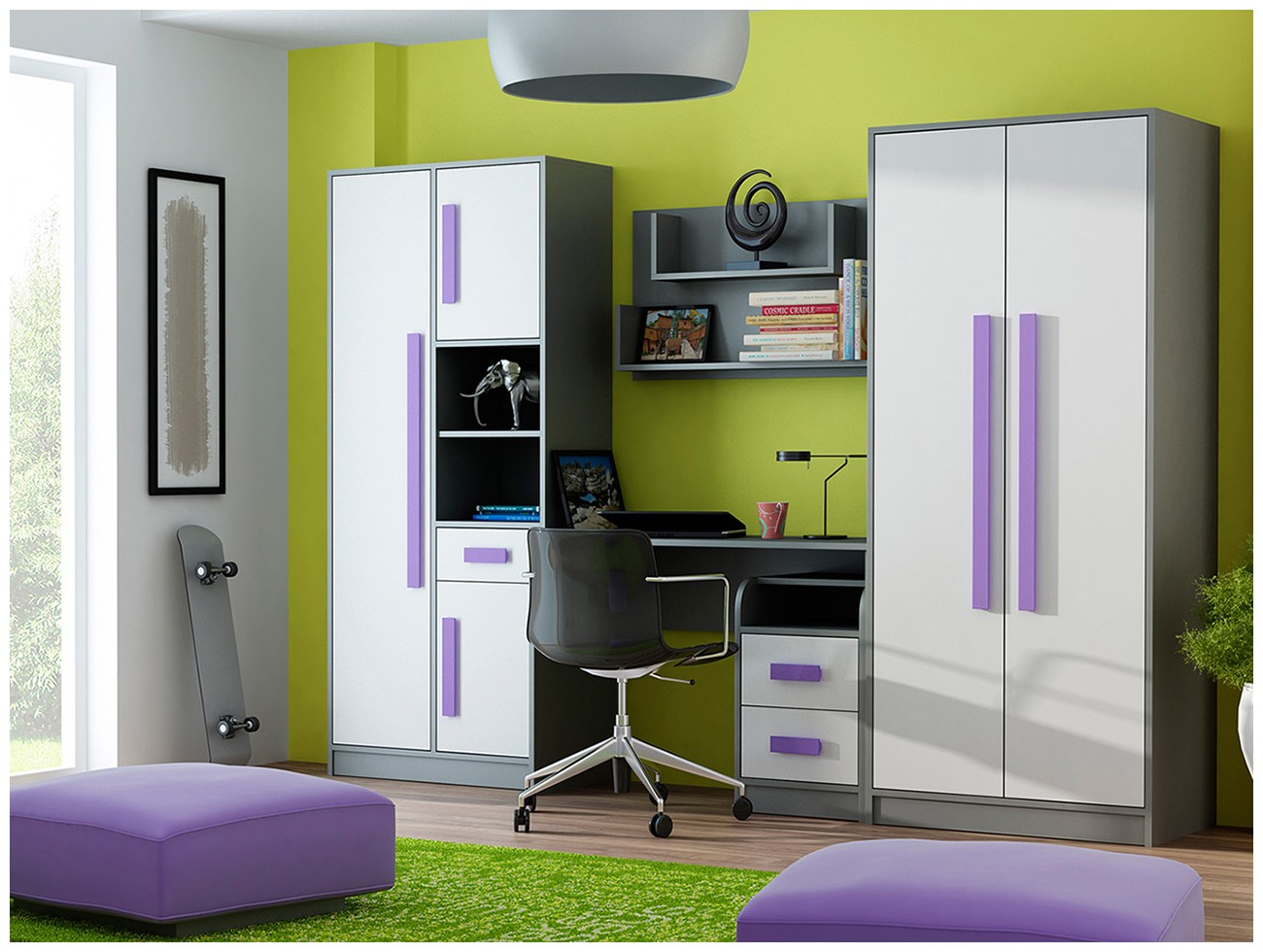 Domel Dětský pokoj GIT 4 Domel Barva: antracit-bila-zelena