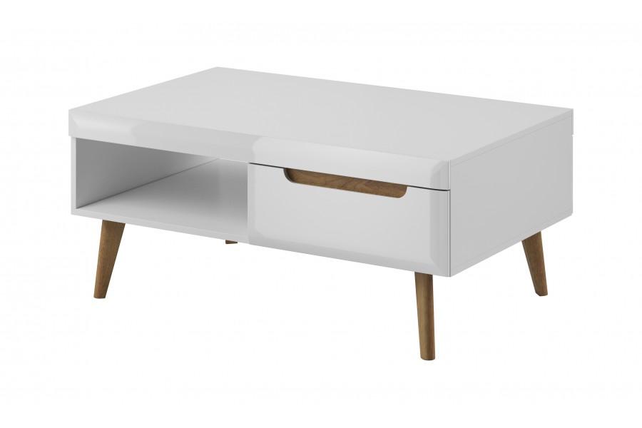 Piaski Konferenční stolek NORDI NL107 Piaski 107/46/67 Piaski barevné provedení: bílá/bílý lesk/dub riviera