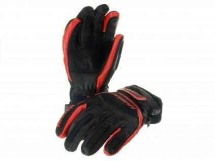Lyžařské pánské rukavice Damani R01 - TOP celokožené (černo-červená)