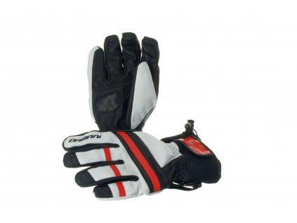 Lyžařské pánské rukavice Damani R03 - SKI celokožené (černo-bílo-červená)