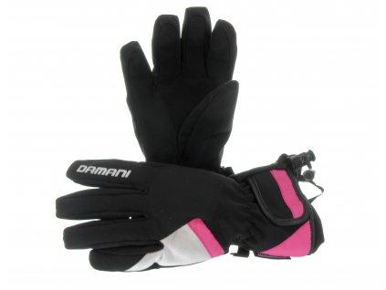 Lyžařské dámské rukavice Damani R06 - látkové (černo-růžová)