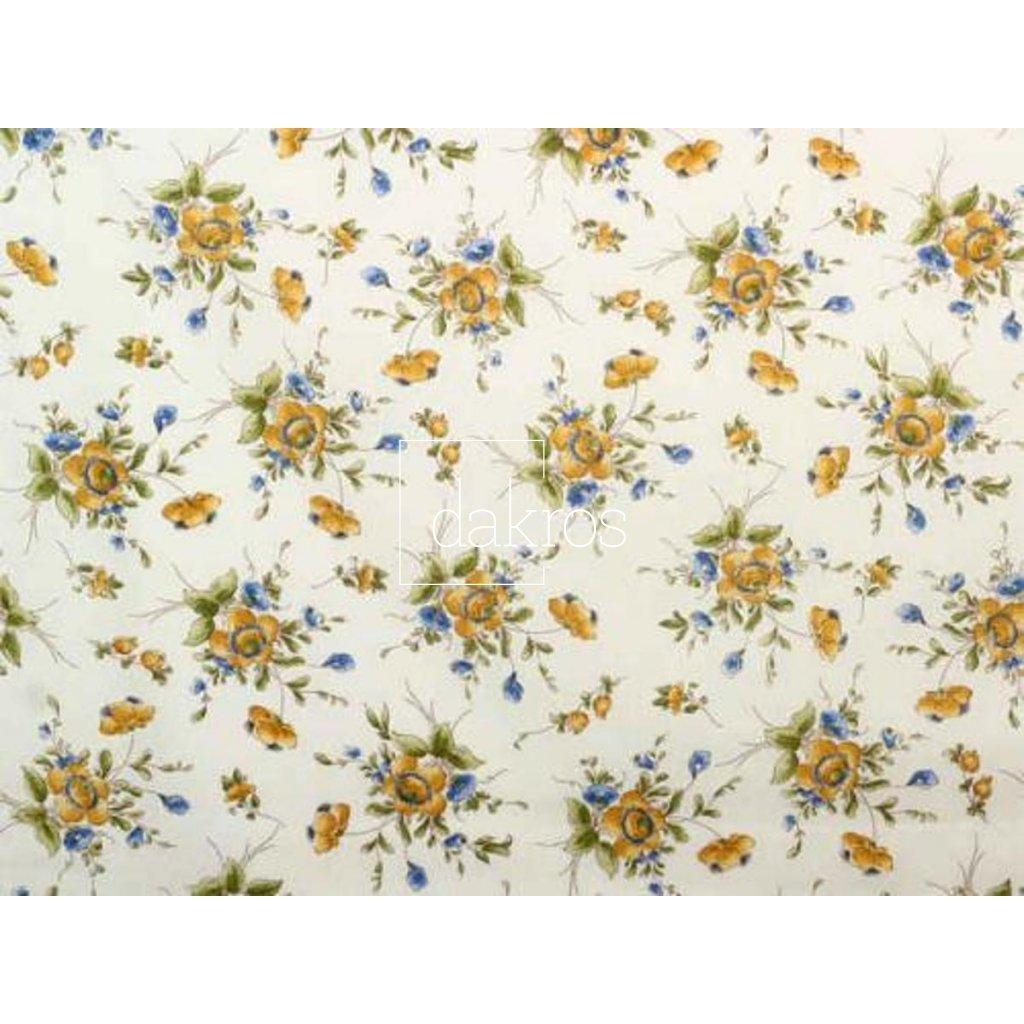 Bavlna Květy žluto modré