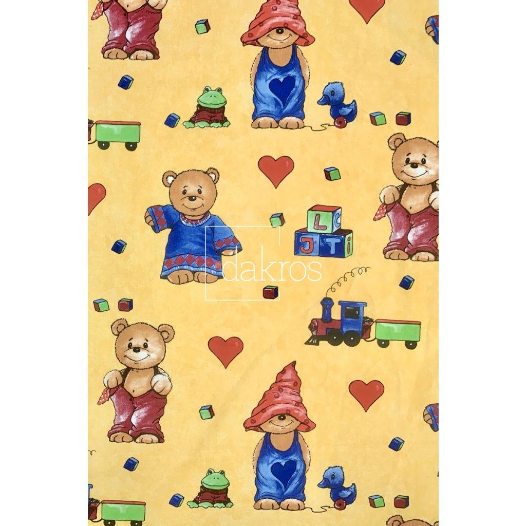 Bavlna Medvědi žlutý podklad
