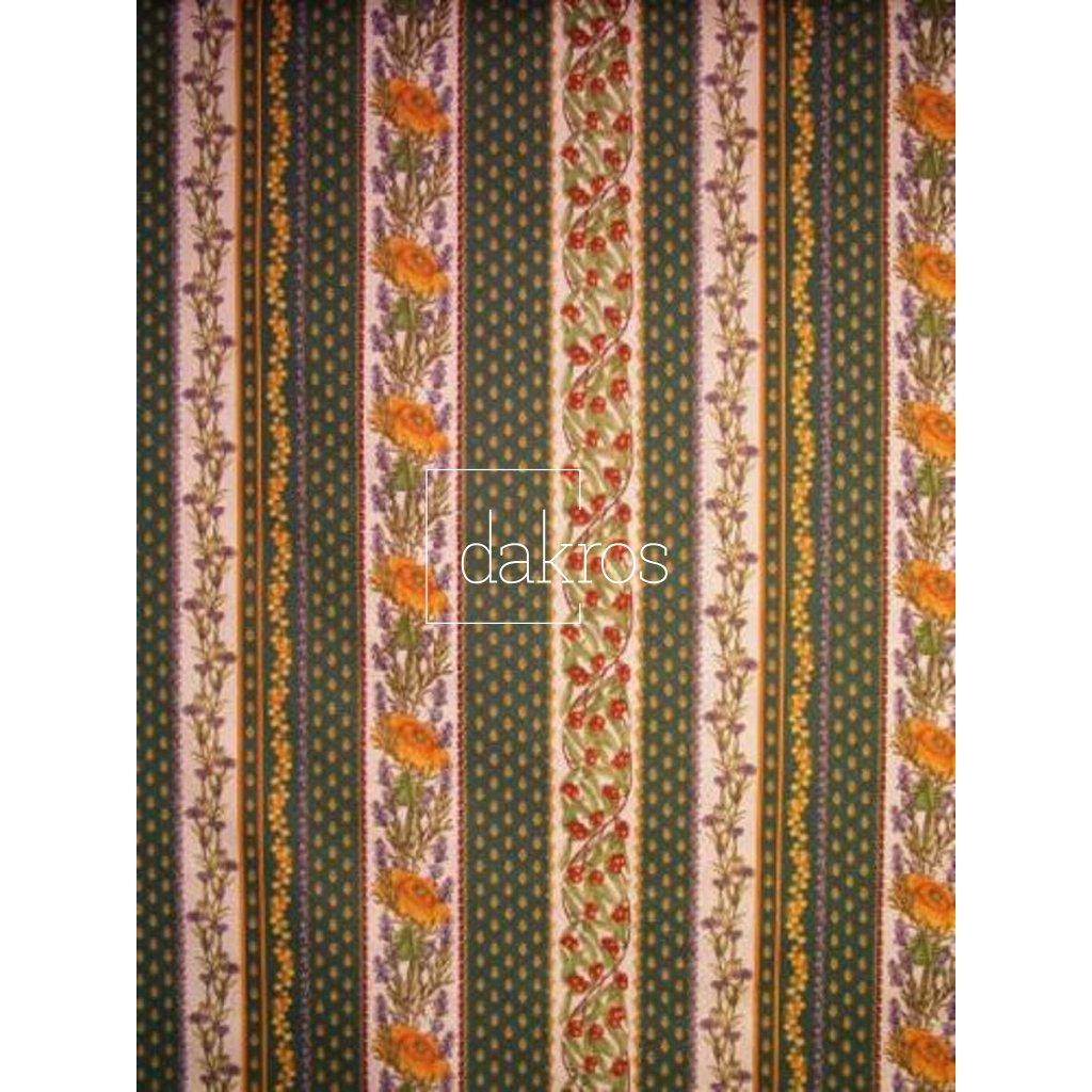 Bavlna Slunečnice pruhy zelené