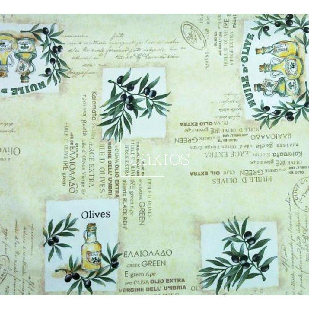 Bavlna Olivy béž nápisy