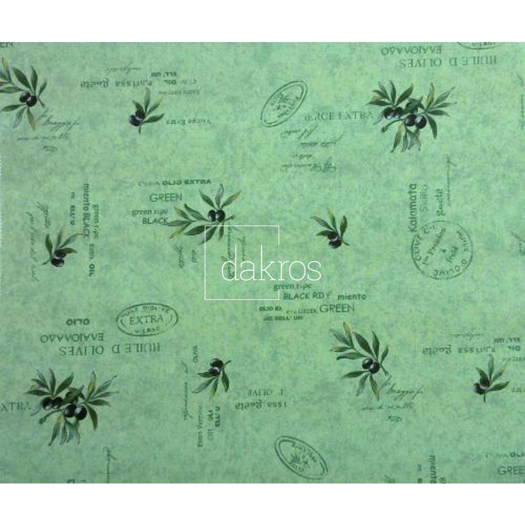 Bavlna Olivy zelené nápisy coordonát