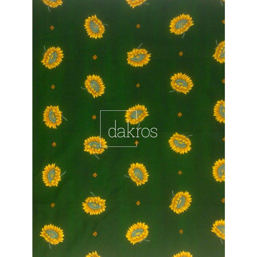 Bavlna Slunečnice na zeleném podkladu