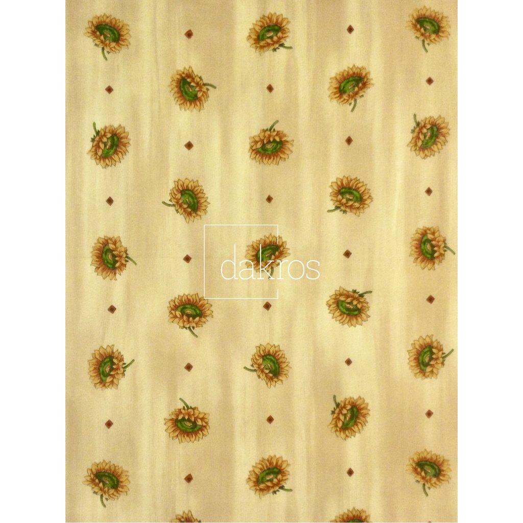 Ubrus slunečnice na béžovém podkladu ve více rozměrech 100% Bavlna
