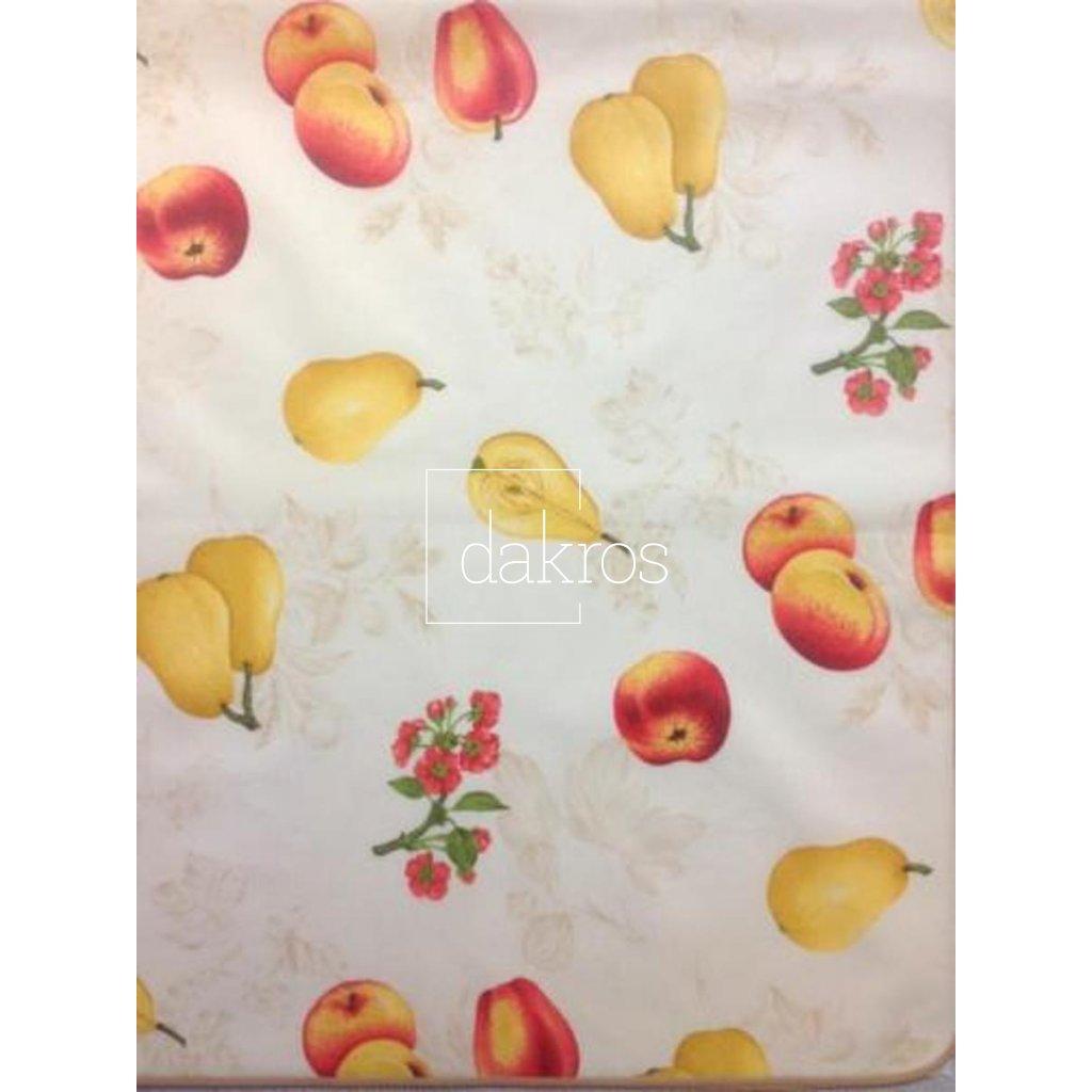 Ubrus s ovocem jablka a hrušky, lemovaný šikmím proužkem - teflonová úprava odpuzující vodu, 100% Bavlna