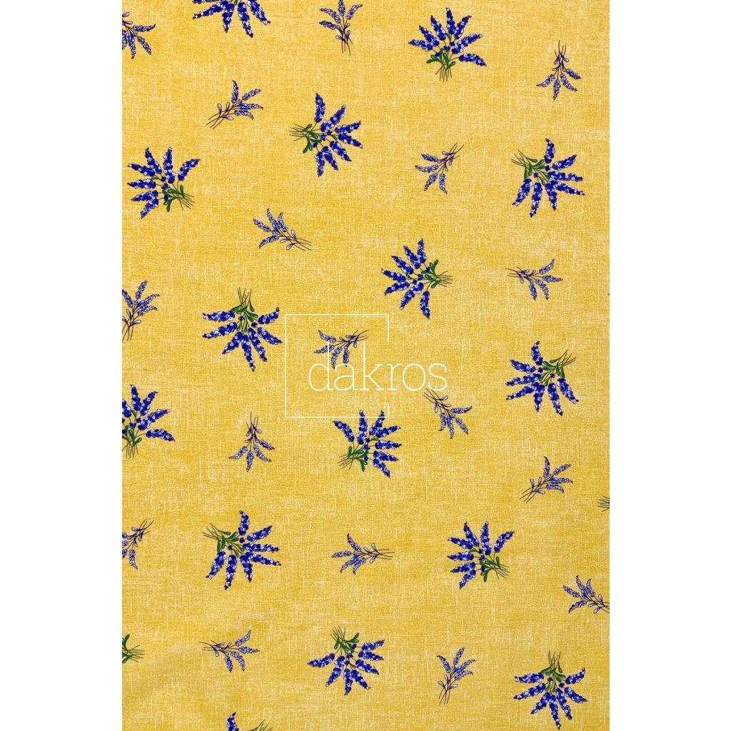 Bavlna Levandule žlutá do pruhu základ