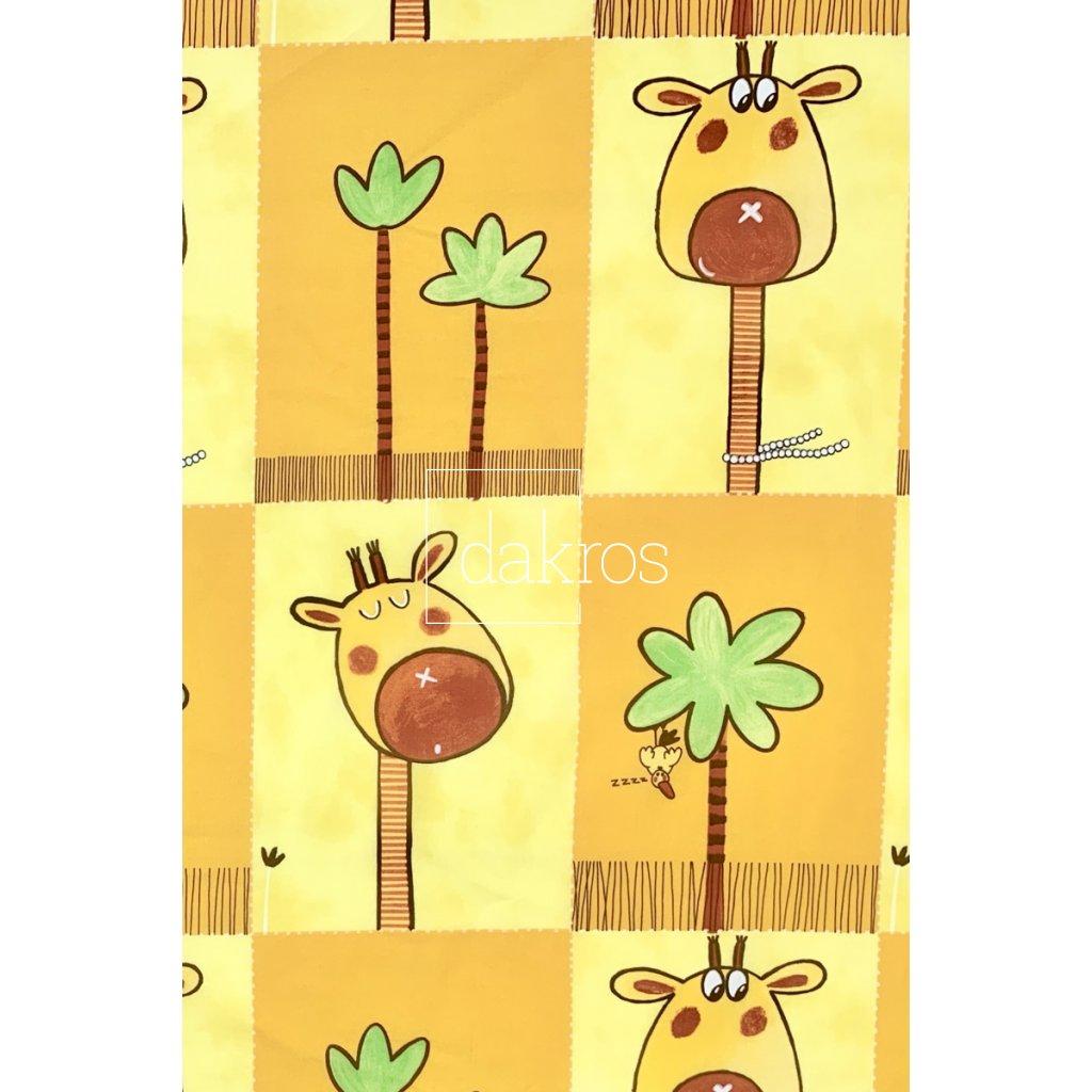 Bavlna Žirafa a palmy
