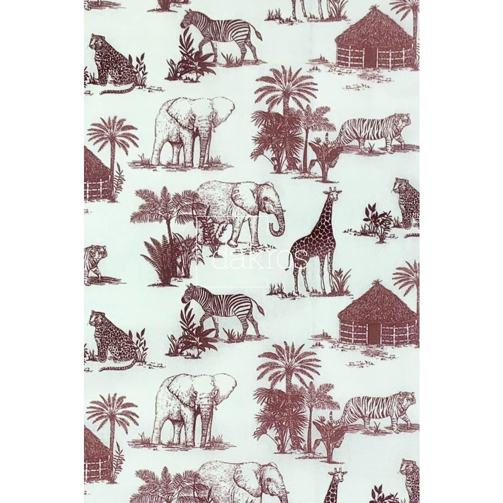 Bavlna Safari slon, zebra, žirafa, leopard