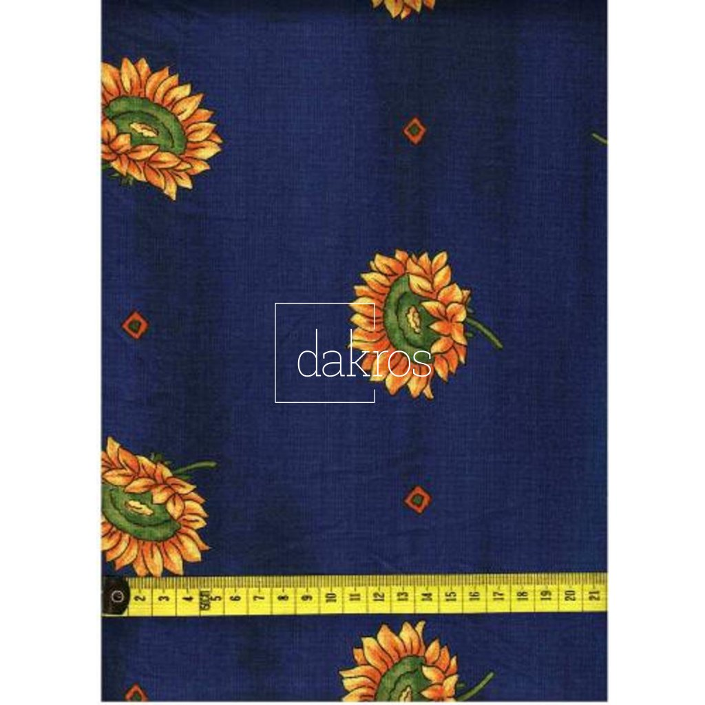 Bavlna Slunečnice na modrém podkladu