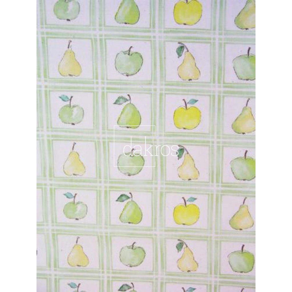 Bavlna Jablka a hrušky ve čtvercích
