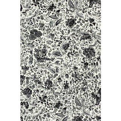 Balvna Květy šedočerné na bílém