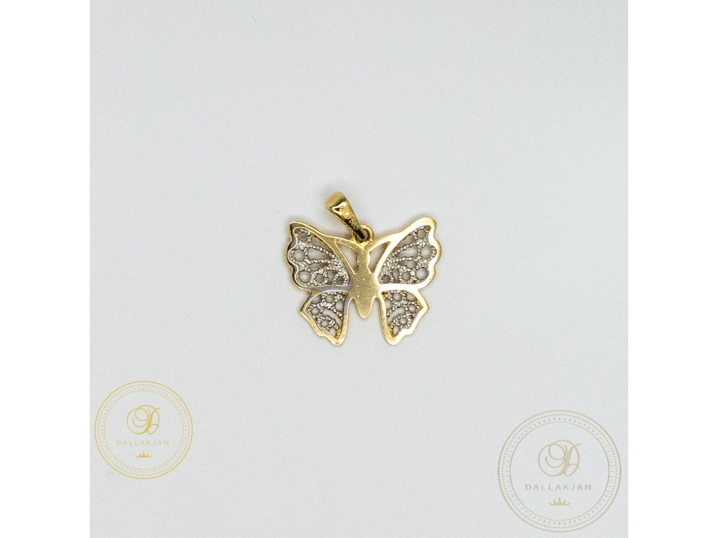 1035 privesek motyl ze zluteho zlata s bilym zlatem