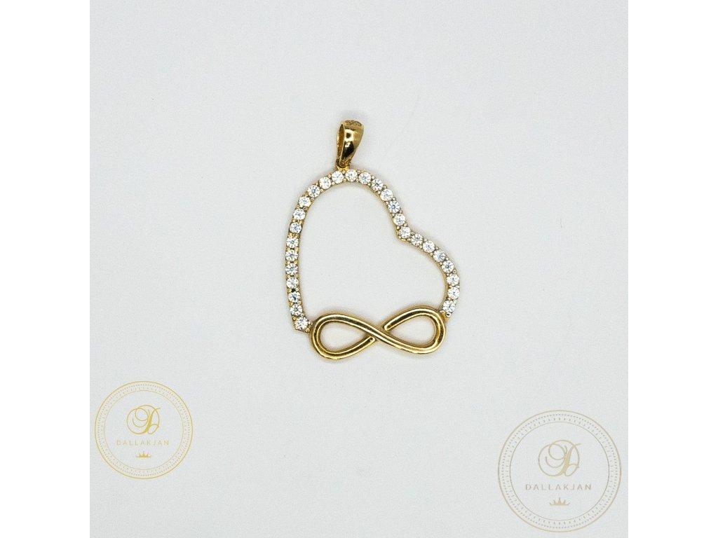 1038 privesek srdce ze zluteho zlata se symbolem nekonecno se zirkonem