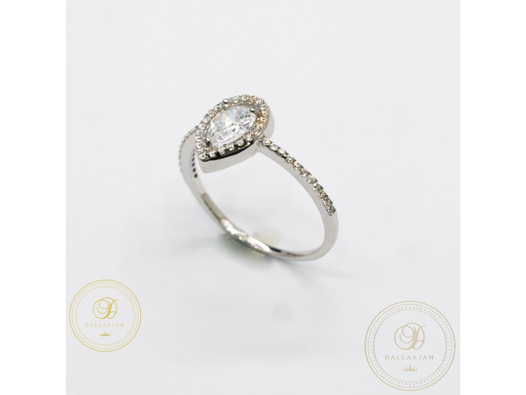 Zásnubní prsten z bílého zlata zdobený zirkonem (Velikost 57)
