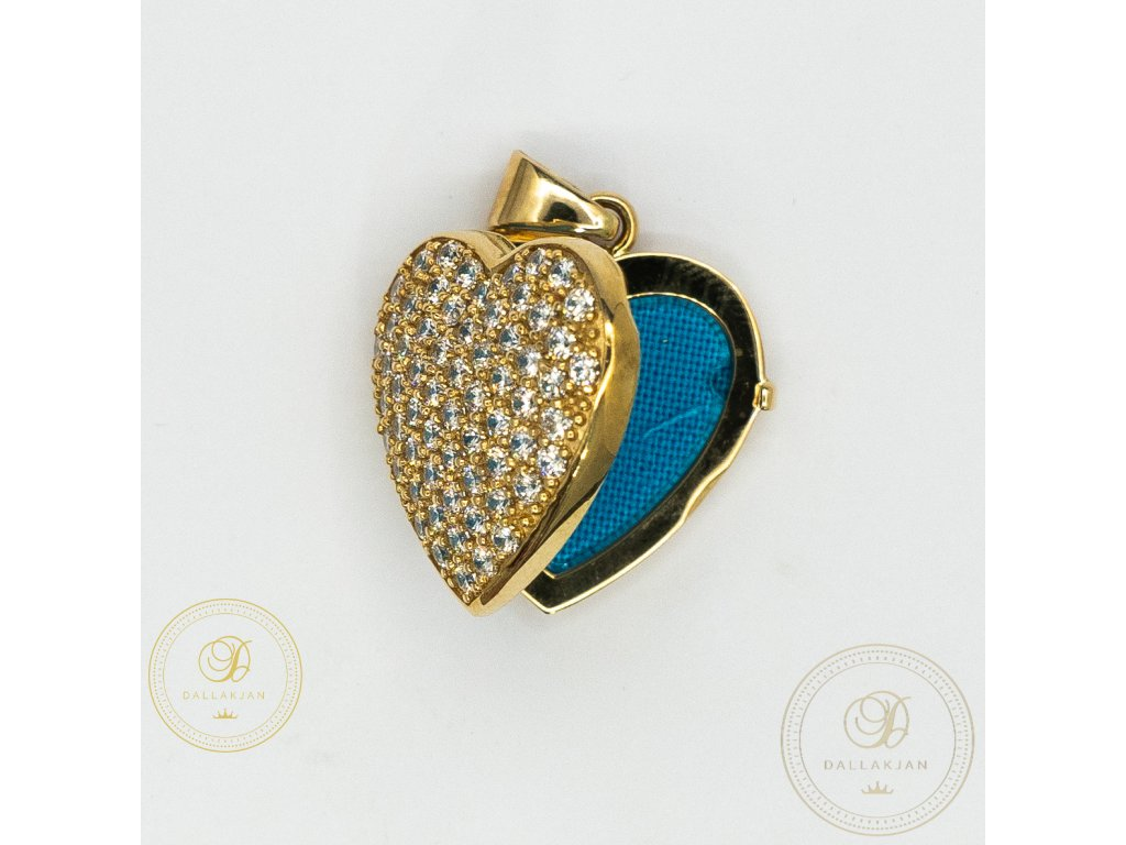 1122 privesek oteviraci srdce ze zluteho zlata zdobeny zirkonem