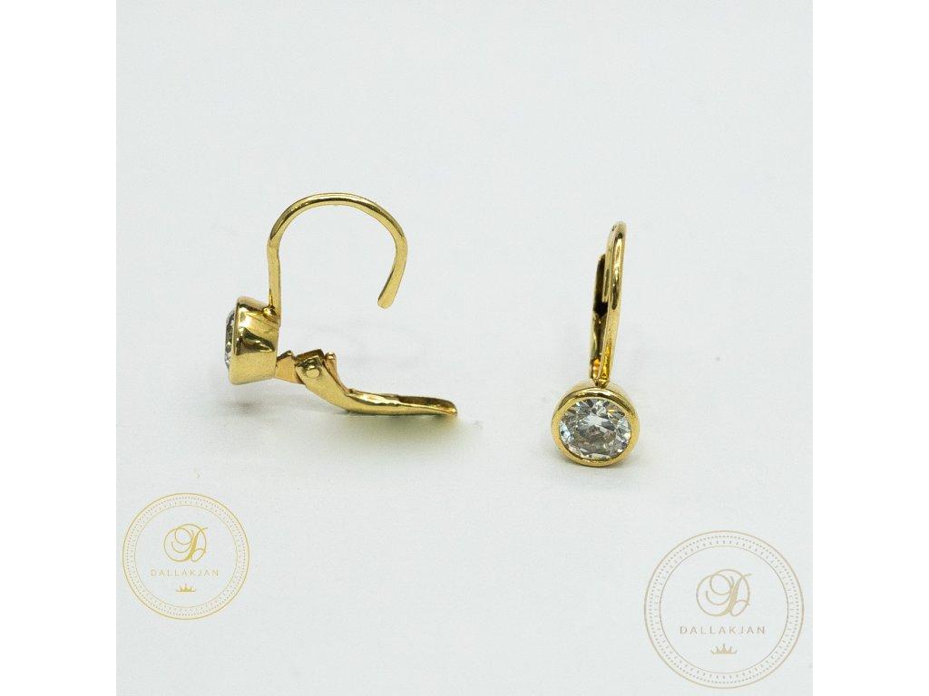 1194 nausnice ze zluteho zlata se zirkonem