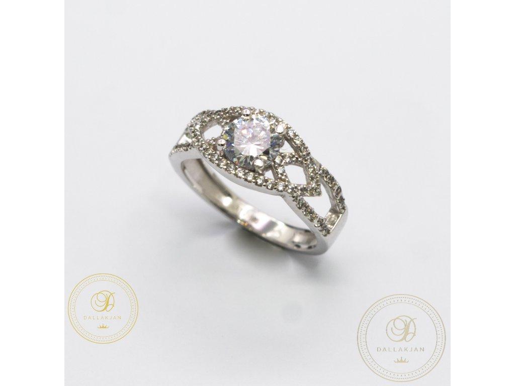 Dámský zlatý prsten zdobený zirkonem (Velikost 55)