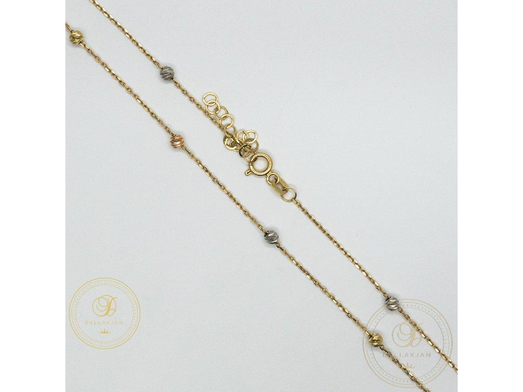 Dámský nahrdelník ze žlutého zlata zdobený bílým a růžovým zlatem (Délka 45)