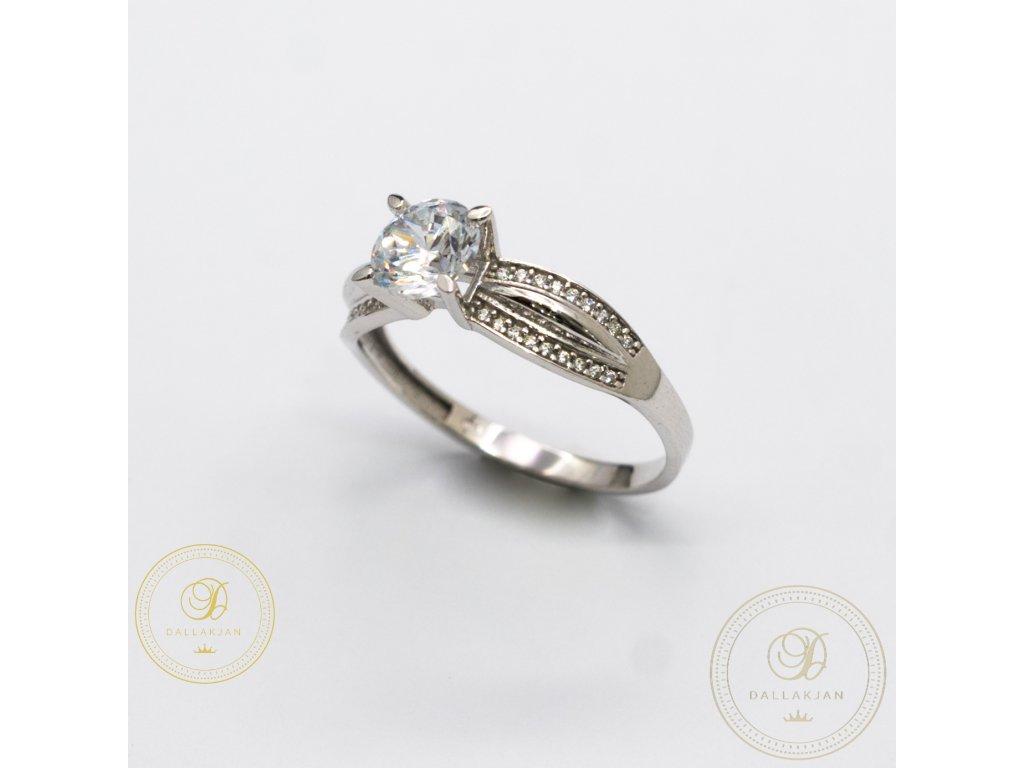 Zásnubní prsten z bílého zlata se zirkonem (Velikost 59)