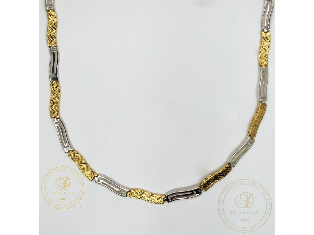 Dámský nahrdelník ze žlutého a bílého zlata (Délka 46)
