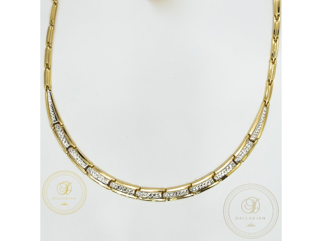Dámský zlatý nahrdelník ze žlutého a bílého zlata (Délka 45)