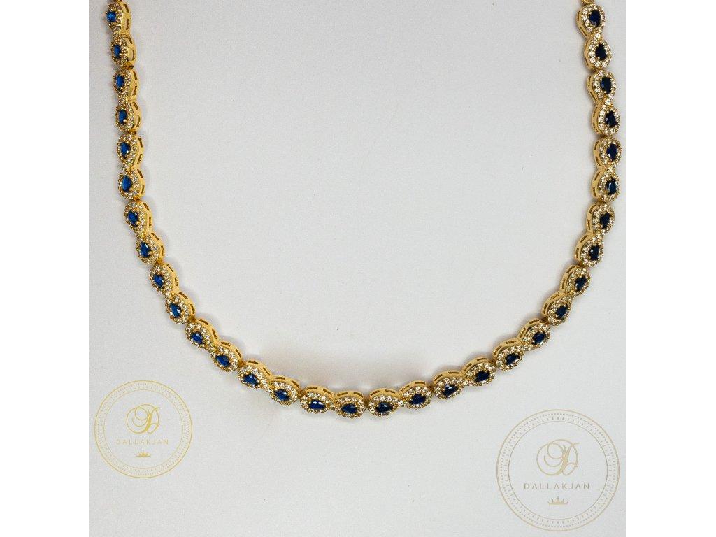 Dámský zlatý nahrdelník ze žlutého zlata zdobený tmavě modrým zirkonem (Délka 46)