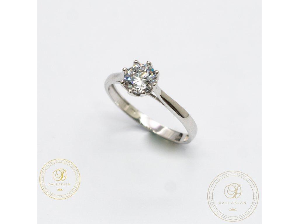 Decentní Zásnubní prsten se zirkonem (Velikost 59)