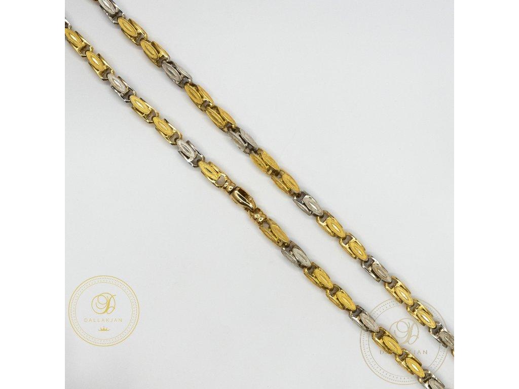 Pánský zlatý řetez ze žlutého a bílého zlata Plné zlato (Délka 61)