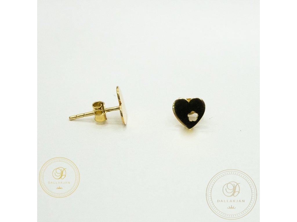 Náušnice pecky ze žlutého zlata ve tvaru  srdce
