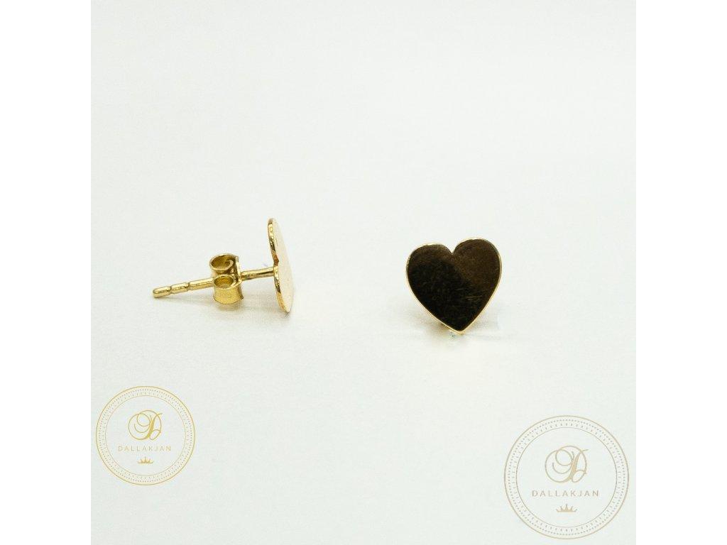 1364 nausnice pecky ze zluteho zlata ve tvaru srdce plne