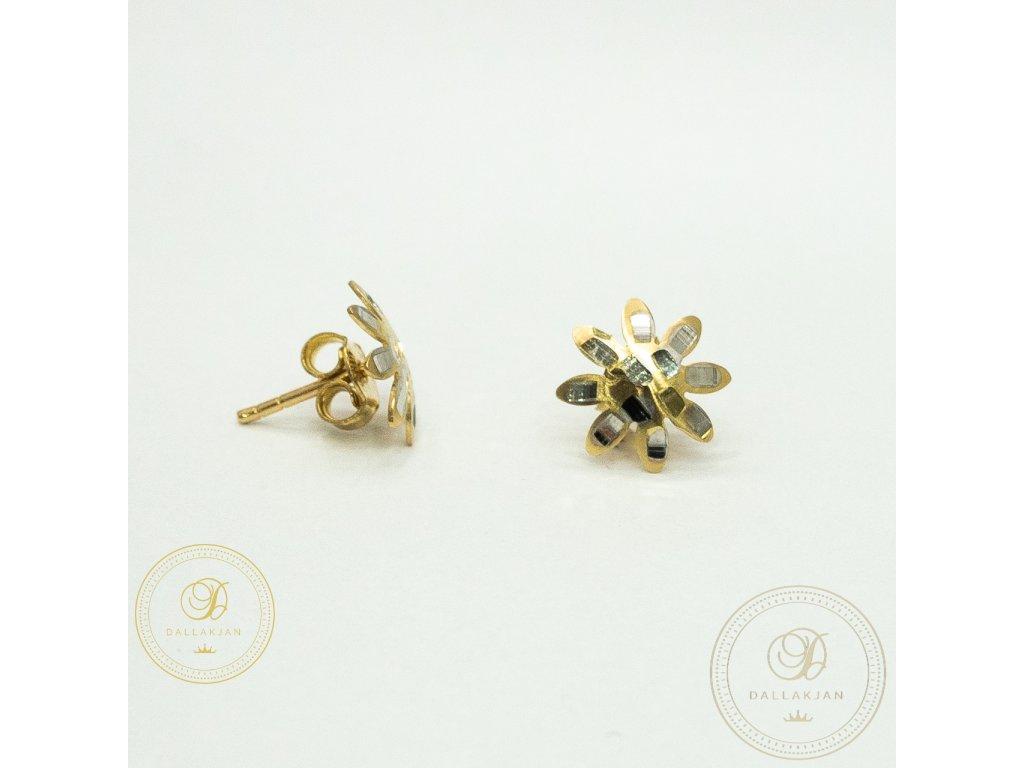 Náušnice pecky z kombinovaného zlata ve tvaru květiny