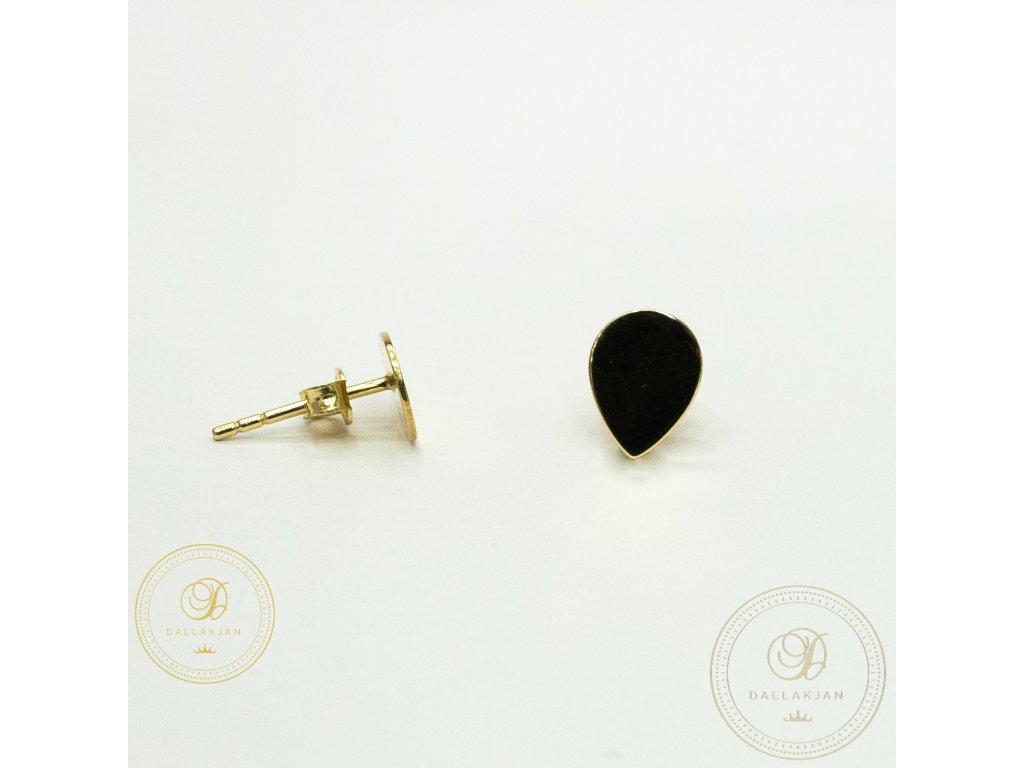 Náušnice pecky ze žlutého zlata ve tvaru šipky