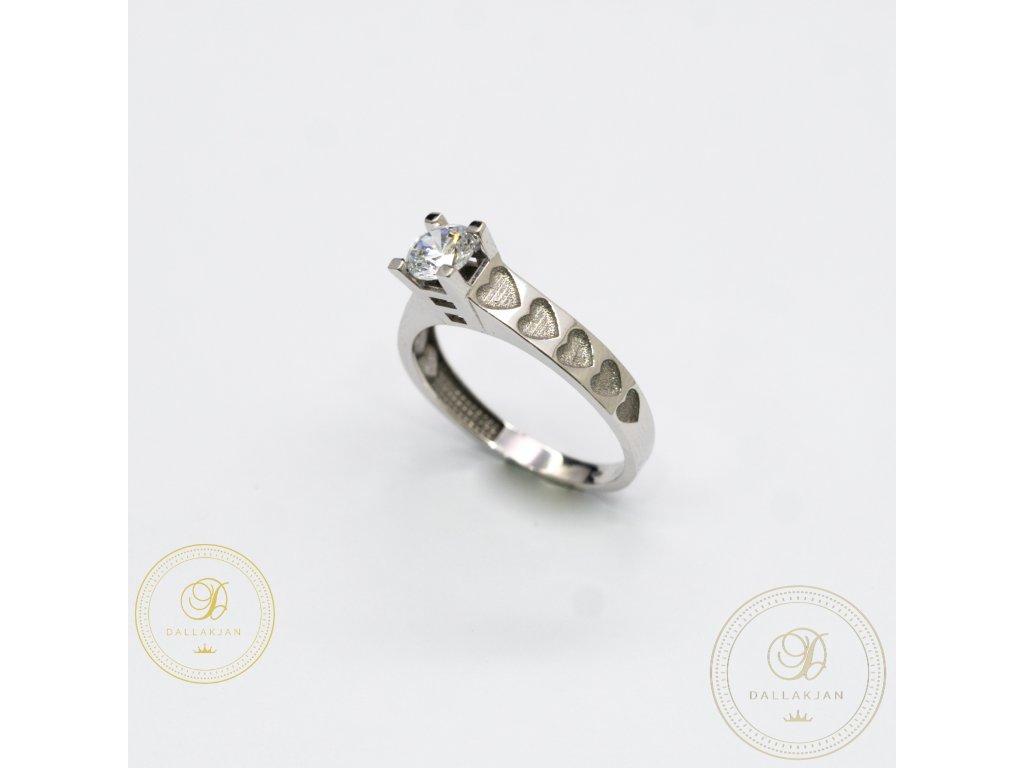 Zásnubní prsten z bílého zlata se zirkonem (Velikost 57)