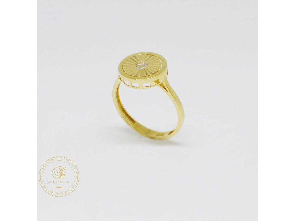 1463 prsten ze zluteho zlata se zirkonem