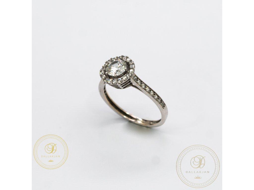 Zásnubní prsten z bílého zlata se zirkonem (Velikost 54)
