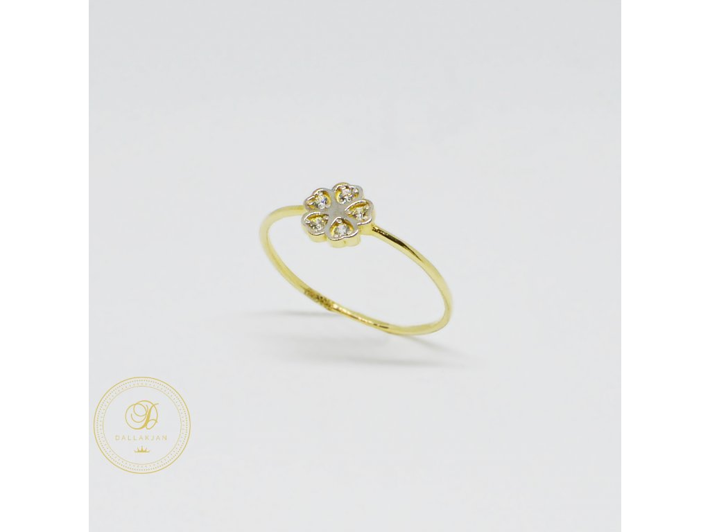1490 prsten ze zluteho zlata kyticka se zirkony