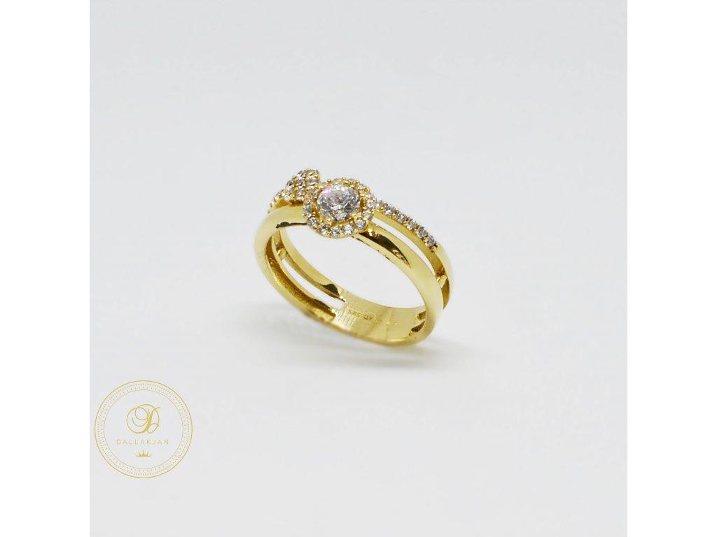 1499 prsten ze zluteho zlata se znakem nekonecno a zirkony
