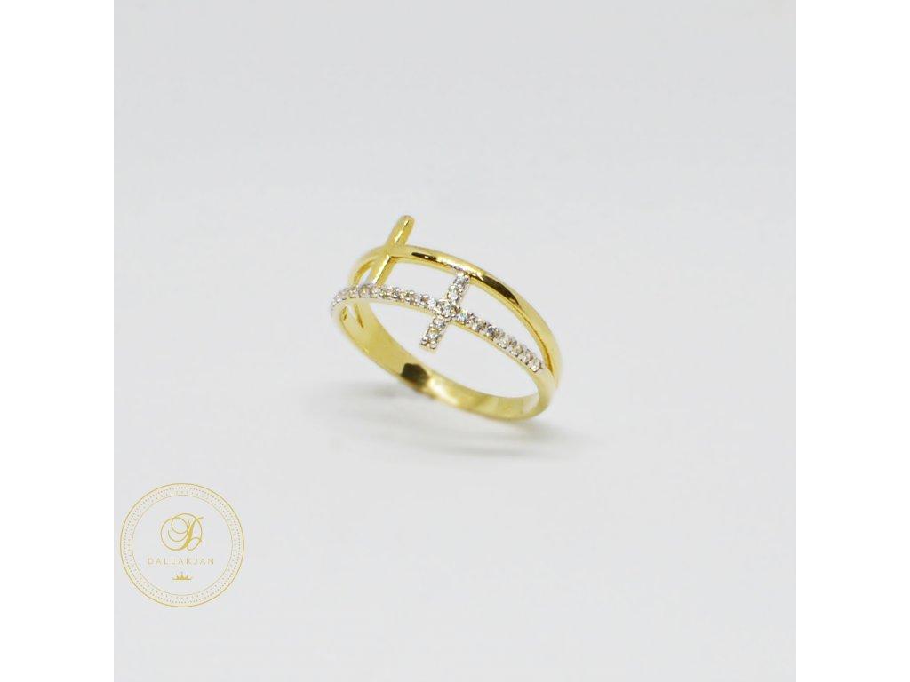 1505 prsten ze zluteho zlata se zirkony krizek