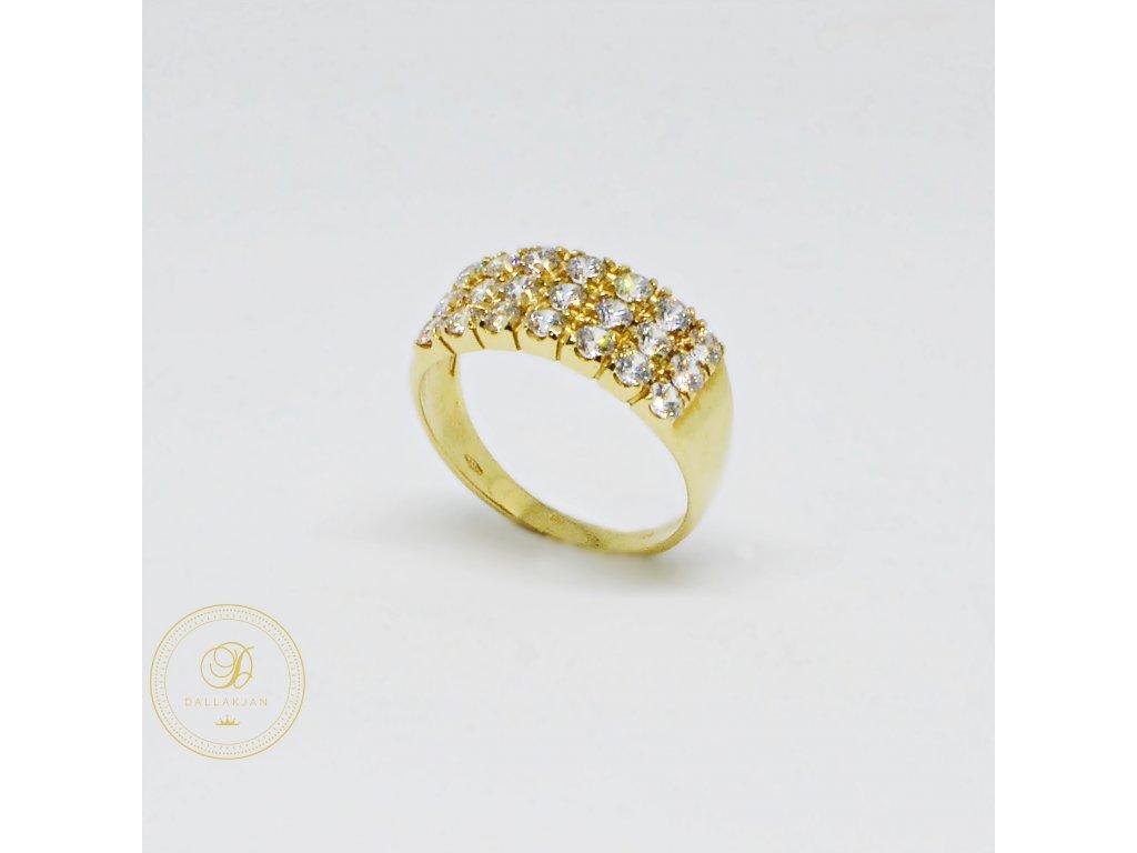 Prsten ze žlutého zlata široký se zirkony (Velikost 57, Váha v g 3,25)