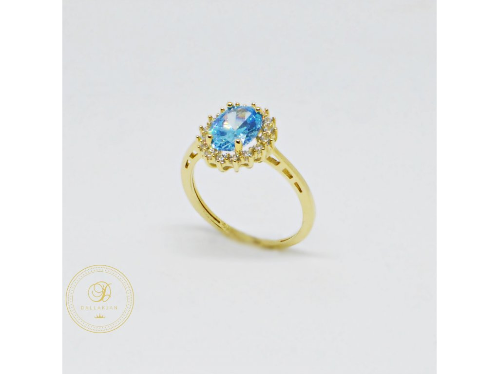 Prsten ze žlutého zlata s akvamarínem (Velikost 55)