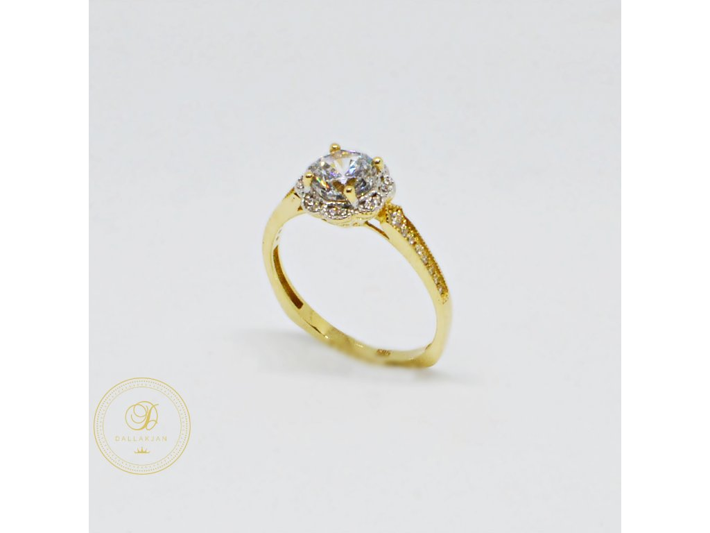 Prsten ze žlutého zlata se zirkony (Velikost 59)