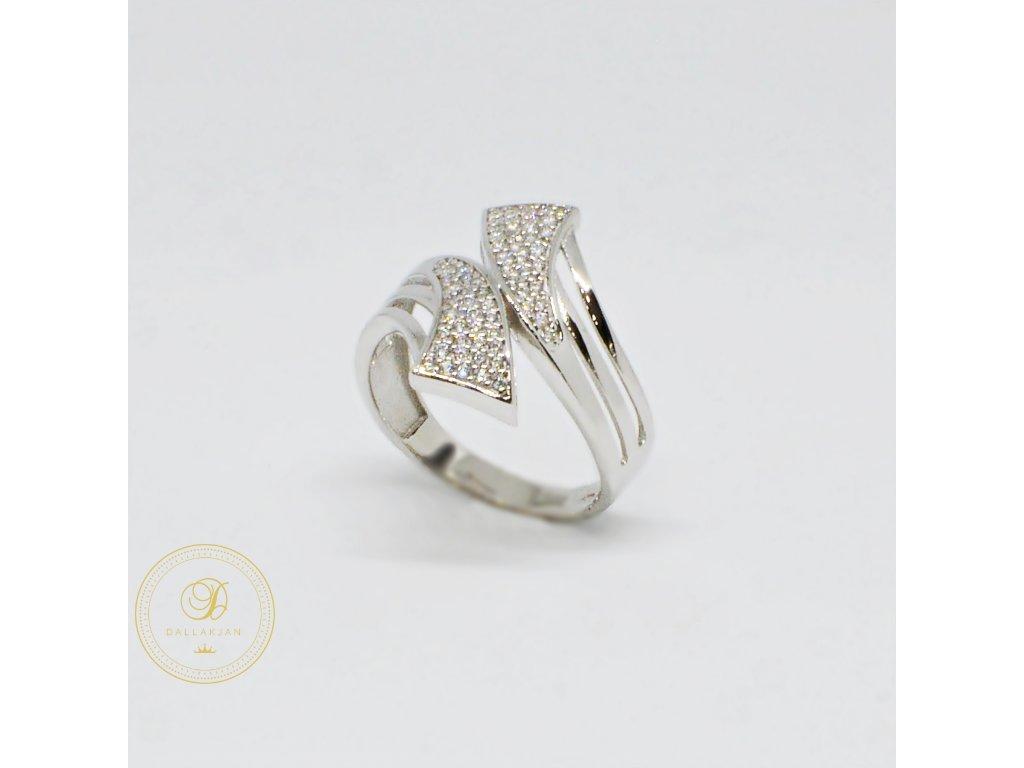 Prsten z bílého zlata moderní se zirkony (Velikost 56)